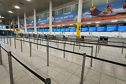 © Licensed to London News Pictures. 23/09/2019. Gatwick, UK. All Thomas Cook check in desks at Gatwick Airport are closed after the travel firm collapsed. The 178 year old travel operator has gone in to liquidation after rescue talks failed overnight. This will trigger the largest peacetime repatriation as more than 150,000 British holidaymakers will need to be brought home. Photo credit: Peter Macdiarmid/LNP