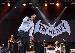 © Licensed to London News Pictures. 01/09/2018. Bristol, UK. The Downs Festival on The Downs in Bristol. Picture of THE HEAVY band on the main stage. The one day festival is taking place for the third year and features headliners Noel Gallagher's High Flying Birds, Paul Weller, and Orbital. Photo credit: Simon Chapman/LNP