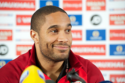 CARDIFF, WALES - Monday, March 25, 2013: Wales' captain Ashley Williams during a press conference at the St. David's Hotel ahead of the 2014 FIFA World Cup Brazil Qualifying Group A match against Croatia. (Pic by David Rawcliffe/Propaganda)