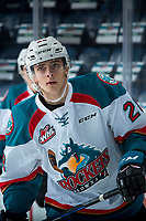 KELOWNA, CANADA - DECEMBER 27: Leif Mattson #28 of the Kelowna Rockets warms up against the Kamloops Blazers on December 27, 2017 at Prospera Place in Kelowna, British Columbia, Canada.  (Photo by Marissa Baecker/Shoot the Breeze)  *** Local Caption ***