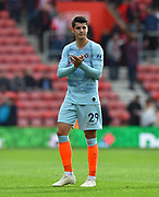 Alvaro Morata (29) of Chelsea applauds the travelling fans at full time after beating Southampton 3-0 during the Premier League match between Southampton and Chelsea at the St Mary's Stadium, Southampton, England on 7 October 2018.