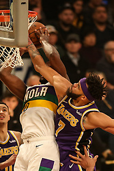 February 27, 2019 - Los Angeles, CA, U.S. - LOS ANGELES, CA - FEBRUARY 27: New Orleans Pelicans Center Julius Randle (30) battling with Los Angeles Lakers Center JaVale McGee (7) during the first half of the New Orleans Pelicans versus Los Angeles Lakers game on February 27, 2019, at Staples Center in Los Angeles, CA. (Photo by Icon Sportswire) (Credit Image: © Icon Sportswire/Icon SMI via ZUMA Press)