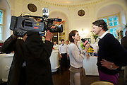 Vienna. Ro Raftl's 65th birthday party at the Lusthaus. Profil Editor Christian Rainer being interviewed by Seitenblicke.