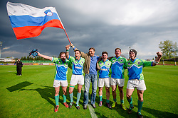 Brothers Skofic with president Borut Pahor after rugby match between National team of Slovenia (green) and Bulgaria (white) at EUROPEAN NATIONS CUP 2012-2014 of C group 2nd division, on April 12, 2014, at ZAK Stadium, Ljubljana, Slovenia. (Photo by Matic Klansek Velej / Sportida.com)
