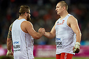 Great Britain, London - 2017 August 11: (L) Pawel Fajdek (Agros Zamosc) and (R) Wojciech Nowicki (Podlasie Bialystok) both of Poland celebrate their medals in men&rsquo;s hammer throw final during IAAF World Championships London 2017 Day 8 at London Stadium on August 11, 2017 in London, Great Britain.<br /> <br /> Mandatory credit:<br /> Photo by &copy; Adam Nurkiewicz<br /> <br /> Adam Nurkiewicz declares that he has no rights to the image of people at the photographs of his authorship.<br /> <br /> Picture also available in RAW (NEF) or TIFF format on special request.<br /> <br /> Any editorial, commercial or promotional use requires written permission from the author of image.
