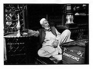 Elder lounges at Shah Hamden Mosque, Srinagar, Indian Administered Kashmir.