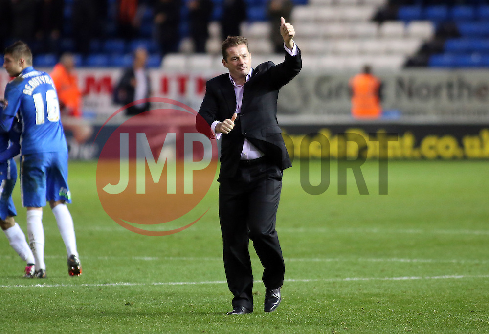 Peterborough United Manager Graham Westley acknowledges the fans at full-time - Mandatory byline: Joe Dent/JMP - 06/12/2015 - Football - ABAX Stadium - Peterborough, England - Peterborough United v Luton Town - FA Cup