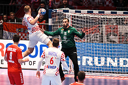 David Mandic of Croatia and Vladimir Cupara during the handball match between National teams of Serbia and Croatia in Group A of Men's EHF EURO 2020 on January 13, 2020 in Stadhalle Graz, Graz, Austria