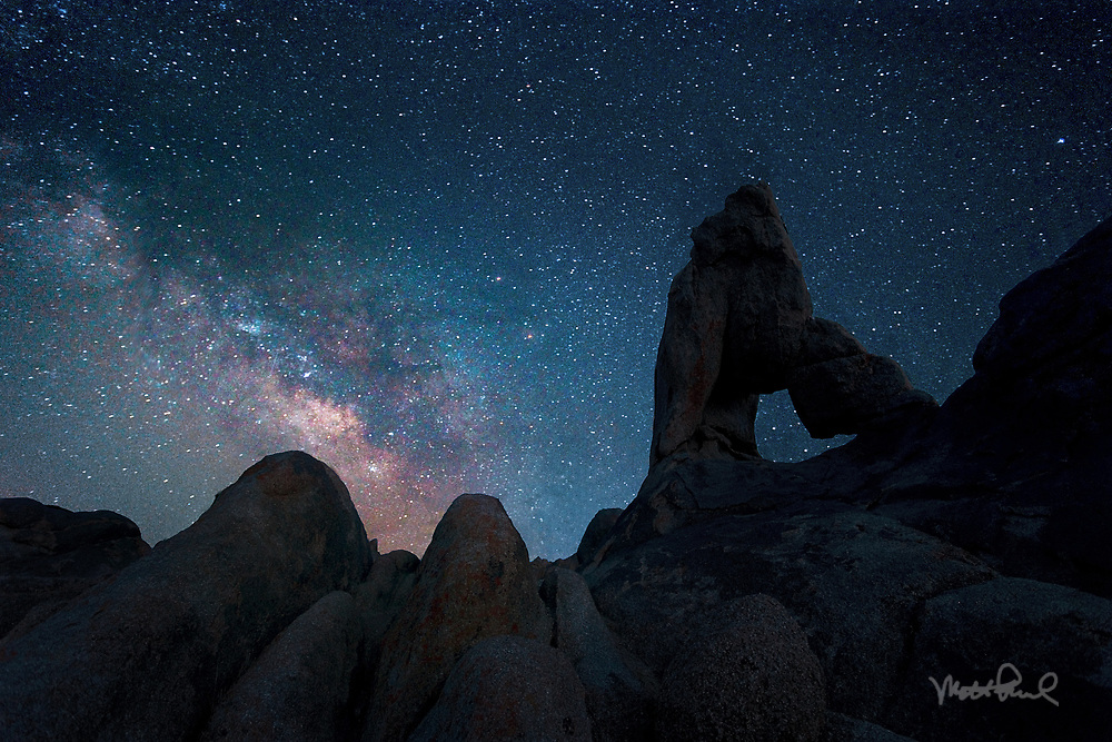 After shooting a great sunset in the Alabama Hills, I attempted to capture some stars and hopefully the milky way. Sure enough the Milky way made it appearance right next to one of the many arches found in the Alabama Hills.