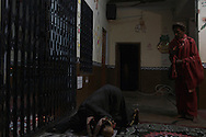 Rahm (L) and Baba G (R) during worship. Varanasi, India