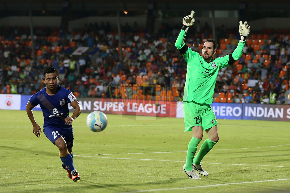 Mumbai City FC goalkeeper Roberto Volpato reacts during match 7 of the Indian Super League (ISL) season 3 between Mumbai City FC and NorthEast United FC held at the Mumbai Football Arena in Mumbai, India on the 7th October 2016.<br /> <br /> Photo by Faheem Hussain / ISL/ SPORTZPICS