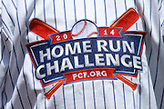 LOS ANGELES, CA - JUNE 15:  A home run challenge logo and PCF prostate cancer foundation logo appears on the back of a jersey before the Los Angeles Dodgers Father's Day game against the Arizona Diamondbacks at Dodger Stadium on Sunday, June 15, 2014 in Los Angeles, California. The Diamondbacks won the game 6-3. (Photo by Paul Spinelli/MLB Photos via Getty Images)