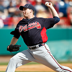 March 4, 2011; Viera, FL, USA; Atlanta Braves relief pitcher Eric O'Flaherty (34) during a spring training exhibition game against the Washington Nationals at Space Coast Stadium.  Mandatory Credit: Derick E. Hingle