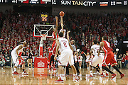January 20, 2014: Walter Pitchford (35) of the Nebraska Cornhuskers gets the opening tip against Amir Williams (23) of the Ohio State Buckeyes at the Pinnacle Bank Arena, Lincoln, NE. Nebraska won in the game against Ohio State 68 to 62.
