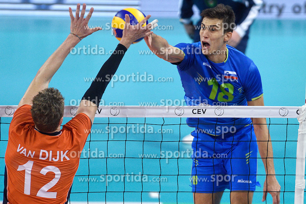 Kay Van Dijk of Netherlands vs Klemen Cebulj of Slovenia of Slovenia during volleyball match between National teams of Netherlands and Slovenia in Playoff of 2015 CEV Volleyball European Championship - Men, on October 13, 2015 in Arena Armeec, Sofia, Bulgaria. Photo by Ronald Hoogendoorn / Sportida
