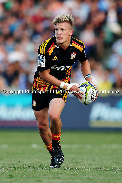 Damian McKenzie of the Chiefs in action. Super Rugby match, Blues v Chiefs at QBE Stadium, Auckland, New Zealand. Saturday 14 February 2015. Photo: Anthony Au-Yeung / www.photosport.co.nz