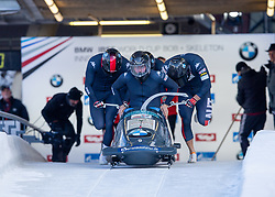 18.01.2020, Olympia Eiskanal, Innsbruck, AUT, BMW IBSF Weltcup Bob und Skeleton, Igls, Bob Viersitzer, Herren 1. Lauf, im Bild Pilot Markus Treichl mit Markus Glueck, Sebastian Mitterer, Kristian Huber (AUT) // Pilot Pilot Markus Treichl with Markus Glueck Sebastian Mitterer Kristian Huber of Austria in action during their 1st run of four-man Bobsleigh competition of BMW IBSF World Cup at the Olympia Eiskanal in Innsbruck, Austria on 2020/01/18. EXPA Pictures © 2020, PhotoCredit: EXPA/ Peter Rinderer