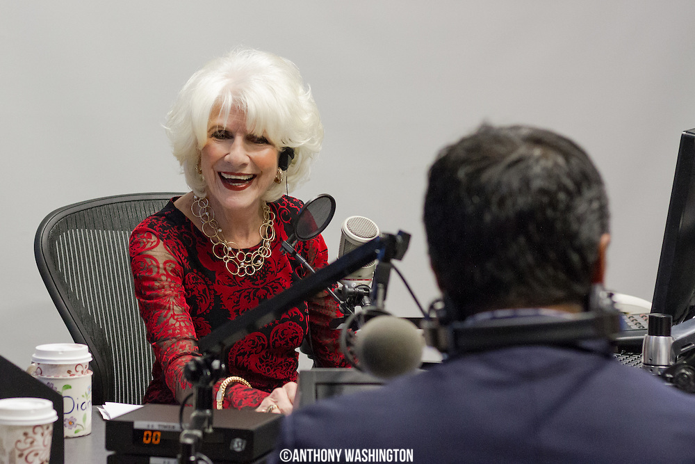 Diane Rehm, host of The Diane Rehm Show, shares a laugh with Manu Raju, senior political reporter for CNN, before hosting her final show on Friday, December 23, 2017 at WAMU 88.5 in Washington, DC.