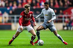 Josh Brownhill of Bristol City is challenged by Marcus Rashford of Manchester United - Rogan/JMP - 20/12/2017 - Ashton Gate Stadium - Bristol, England - Bristol City v Manchester United - Carabao Cup Quarter Final.