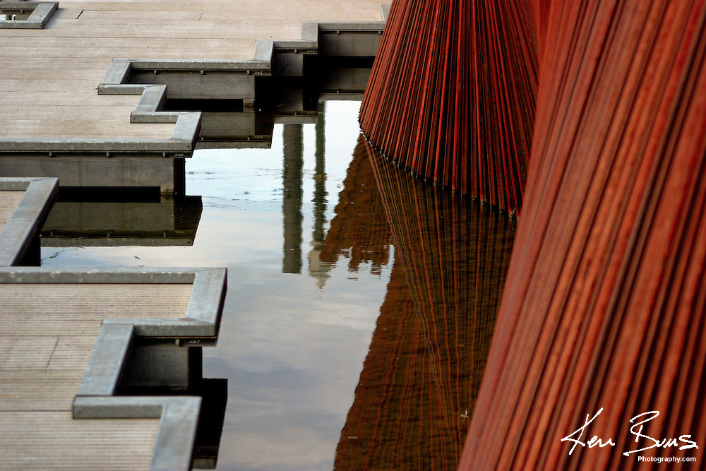 Metal and creative paving make up the urban Tanner Springs park in the Pearl District, Portland, Oregon.