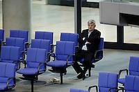 10 MAR 2006, BERLIN/GERMANY:<br /> Joschka Fischer, B90/Gruene, Bundesaussenminister a.D., in der letzten Reihe der Fraktion B90/Gruene, Bundestagsdebatte zur Ersten Beratung der Grundgesetzaenderungen im Rahmen der Foederalismusreform, Plenum, Deutscher Bundestag<br /> IMAGE: 20060310-01-105