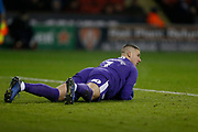 West Bromwich Albion goalkeeper Sam Johnstone (1) falls on the ball during the EFL Sky Bet Championship match between Sheffield United and West Bromwich Albion at Bramall Lane, Sheffield, England on 14 December 2018.