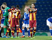 Romain Vincelot of Bradford City applauds the away fans shake hands at full time during the EFL Trophy match between Chesterfield and Bradford City at the b2net stadium, Chesterfield, England on 29 August 2017. Photo by Paul Thompson.