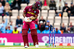 Evin Lewis of West Indies  is bowled by Chris Woakes of England - Mandatory by-line: Robbie Stephenson/JMP - 14/06/2019 - FOOTBALL - Hampshire Bowl - Southampton, England - England v West Indies - ICC Cricket World Cup 2019 group