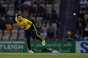 Liam Dawson of Hampshire bowling during the Vitality T20 Blast South Group match between Hampshire County Cricket Club and Middlesex County Cricket Club at the Ageas Bowl, Southampton, United Kingdom on 20 July 2018. Picture by Dave Vokes.