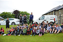CARDIFF, WALES - Wednesday, June 1, 2016: David Hughes and students during a training session at the Vale Resort Hotel ahead of the International Friendly match against Sweden. (Pic by David Rawcliffe/Propaganda)