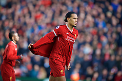 LIVERPOOL, ENGLAND - Saturday, February 24, 2018: Liverpool's Virgil van Dijk takes off his warm-up jacket before the FA Premier League match between Liverpool FC and West Ham United FC at Anfield. (Pic by David Rawcliffe/Propaganda)