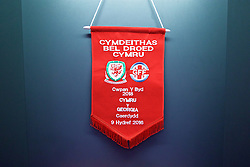 CARDIFF, WALES - Sunday, October 9, 2016: The Wales pennant in the dressing room before the 2018 FIFA World Cup Qualifying Group D match against Georgia at the Cardiff City Stadium. (Pic by David Rawcliffe/Propaganda)