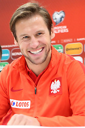 October 4, 2017 - Yerevan, Armenia - Polish national soccer team player Grzegorz Krychowiak attends a press conference in Yerevan, Armenia, 04 October 2017. Poland will face Armenia in the FIFA World Cup 2018 qualifying soccer match on 05 October 2017. (Credit Image: © Foto Olimpik/NurPhoto via ZUMA Press)