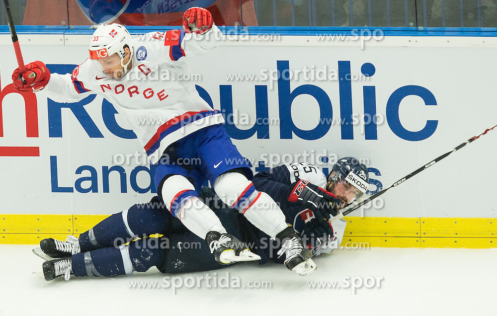 Ole-Kristian Tollefsen of Norway vs Marek Viedensky of Slovakia during Ice Hockey match between Slovakia and Norway at Day 6 in Group B of 2015 IIHF World Championship, on May 6, 2015 in CEZ Arena, Ostrava, Czech Republic. Photo by Vid Ponikvar / Sportida