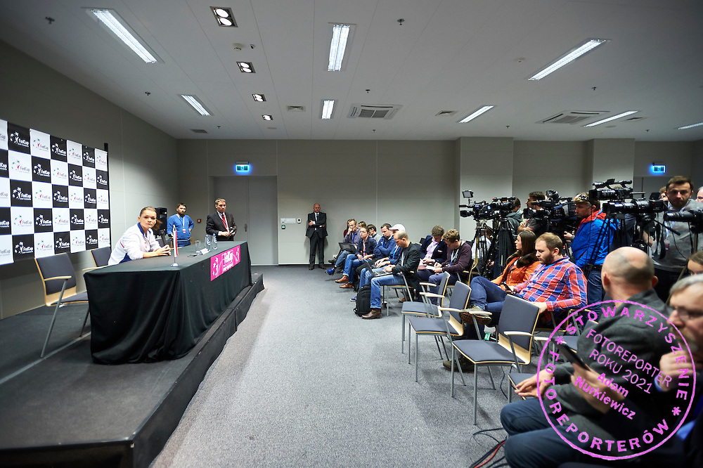 Agnieszka Radwanska from Poland whie her press conference during First Day of the Fed Cup / World Group 1st round tennis match between Poland and Russia at Tauron Krakow Arena on February 7, 2015 in Cracow, Poland.<br /> <br /> Poland, Cracow, February 7, 2015<br /> <br /> Picture also available in RAW (NEF) or TIFF format on special request.<br /> <br /> For editorial use only. Any commercial or promotional use requires permission.<br /> <br /> Adam Nurkiewicz declares that he has no rights to the image of people at the photographs of his authorship.<br /> <br /> Mandatory credit:<br /> Photo by &copy; Adam Nurkiewicz / Mediasport