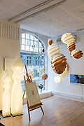 Le Klint Danish contemporary lights in lighting emporium in Kirkestraede in the old district of Copenhagen, Denmark