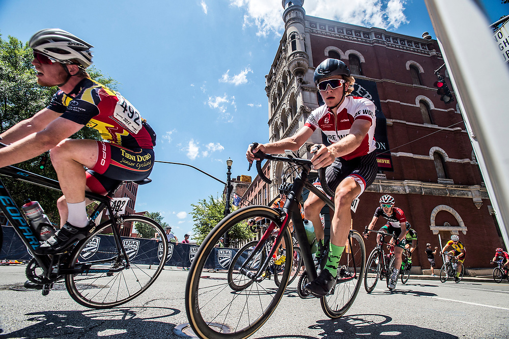 LOUISVILLE, KY - JUL 2: Ben takes a corner in downtown Louisville during the USA Cycling National Championships Criterium on Sunday, July 2, 2017 in Louisville, Ky. Ben was out of position in the criterium for most of the race, and after being stuck behind a bad crash, riders were pulled before having a chance to get to the main pack. (Photo by Jay Westcott/The News & Advance)