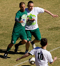 Uros Stanic vs Jure Bohoric during friendly match between Slovenian football journalists and officials of Slovenian football federation at  Hyde Park High School Stadium on June 16, 2010 in Johannesburg, South Africa.  (Photo by Vid Ponikvar / Sportida)