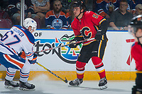PENTICTON, CANADA - SEPTEMBER 8: Rasmus Andersson #54 of Calgary Flames passes the puck against the Calgary Flames on September 8, 2017 at the South Okanagan Event Centre in Penticton, British Columbia, Canada.  (Photo by Marissa Baecker/Shoot the Breeze)  *** Local Caption ***