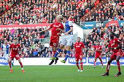 Hordur Magnusson of Bristol City and Tommie Hoban of Blackburn Rovers compete in the air - Rogan Thomson/JMP - 22/10/2016 - FOOTBALL - Ashton Gate Stadium - Bristol, England - Bristol City v Blackburn Rovers - Sky Bet EFL Championship.