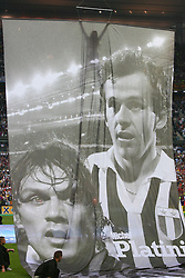 PARIS, FRANCE - WEDNESDAY, MAY 17th, 2006: Images of Paulo Maldini and Michel Platini are shown before the UEFA Champions League Final at the Stade de France. (Pic by David Rawcliffe/Propaganda)