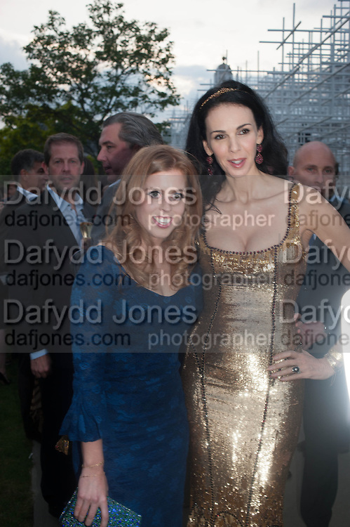 PRINCESS BEATRICE OF YORK; L'WREN SCOTT;, The Serpentine Summer Party 2013 hosted by Julia Peyton-Jones and L'Wren Scott.  Pavion designed by Japanese architect Sou Fujimoto. Serpentine Gallery. 26 June 2013. ,