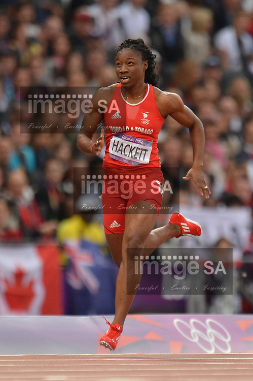 LONDON, ENGLAND - AUGUST 6, Semoy Hackett of Trinidad and Tobago in the women's 200m heat during the evening session of athletics at the Olympic Stadium  on August 6, 2012 in London, England.Photo by Roger Sedres / Gallo Images