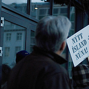 "A banner saying ""New Iceland Now"" in one of the demonstration against the corruption of the government that made the Iceland economy crumble."