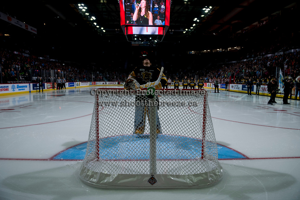 REGINA, SK - MAY 22: Kaden Fulcher #33 of Hamilton Bulldogs stands in net at the start of the game against the Acadie-Bathurst Titan at the Brandt Centre on May 22, 2018 in Regina, Canada. (Photo by Marissa Baecker/CHL Images)