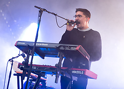 © Licensed to London News Pictures. 28/08/2015. Reading Festival, UK.  Alt J performing at Reading Festival 2015 28 August 2015 Day 1.  In this picture Gus Unger-Hamilton.    Photo credit: Richard Isaac/LNP