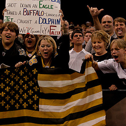 2009 November 02: New Orleans Saints fans in the standing in the second half against the Atlanta Falcons during a 35-27 win by the Saints over the Falcons at the Louisiana Superdome in New Orleans, Louisiana.