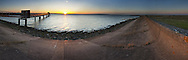 Sunset over the Thames Estuary at Cliffe, Kent, Uk