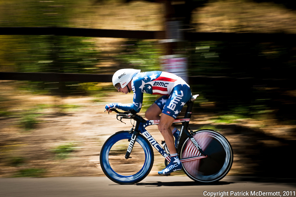 2010 United States Time Trial Champion Taylor Phinney of the BMC Racing Team competes in the Individual Time Trial during stage six of the Amgen Tour of California in Solvang, Calif. on Friday, May 20, 2011.