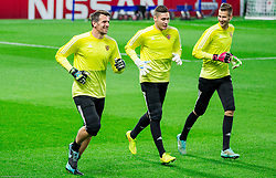 Jasmin Handanovic, Aljaz Cotman and Marino Hamer   during practice session of NK Maribor 1 day before UEFA Champions League 2014/15 Match between FC Chelsea and NK Maribor, SLO, on October 20, 2014 in Stamford Bridge Stadium, London, Great Britain. Photo by Vid Ponikvar / Sportida.com